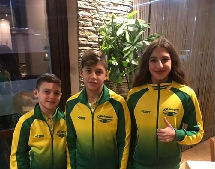 """Общо осем медала спечелиха трите златни рибки на СКПС """"Добруджа"""" от турнира в Бургас"""